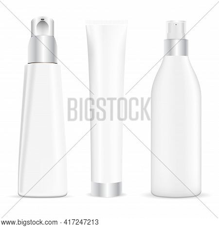 Pump Tube, Cosmetic Cream Dispenser, Cream Tube Beauty Package Mockup. Serum Essence Container, Vect