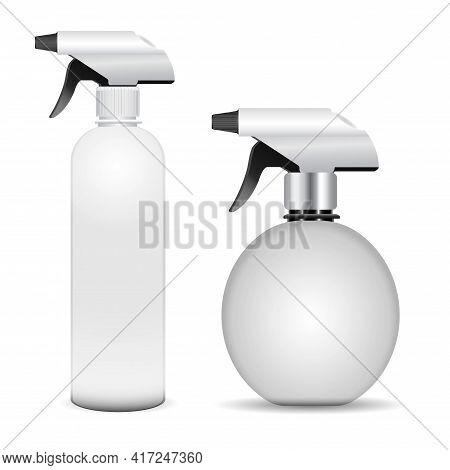 Trigger Spray Bottle Mockup, Vector Cleaner Container. Realistickitchen Equipment Bottle, Bathroom F