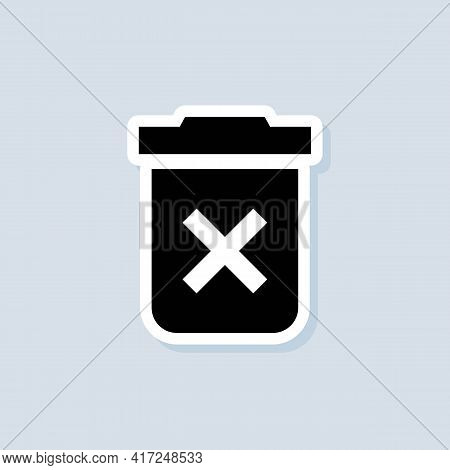 Delete Button Sticker. Trash Can Icon. Rubbish Basket. Vector On Isolated Background. Eps 10.
