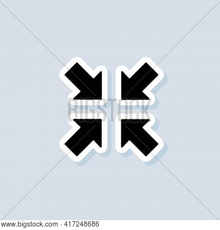 Exit Full Screen Sticker. Full Screen Enter Or Exit Icon. Maximize Or Minimize Symbol. Vector On Iso
