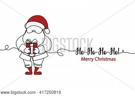 Continuous One Line Of Santa Claus With Gift Box In Silhouette. Minimal Style. Perfect For Cards, Pa