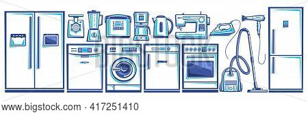 Vector Set Of Home Appliances, Lot Collection Of Cut Out Outline Illustrations Household And Kitchen