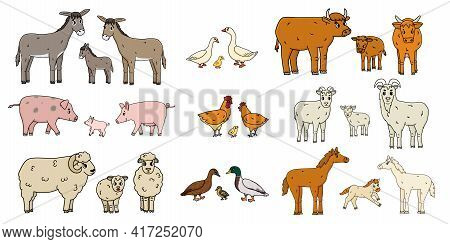 Cute Farm Animals Families Isolated On White Background. Vector Cartoon Outline Doodle Animals Colle