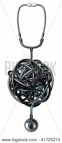 Health care management medical symbol with a doctor stethoscope tangled in a ball of confusion as a concept of medical problems and failure as it pertains to a diagnosis and dealing with human illness. poster