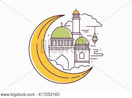 Ramadan Kareem. Ramadan Icon Isolated On White Background. Moon. Mosque. Lantern. Cloud. Islamic Ico