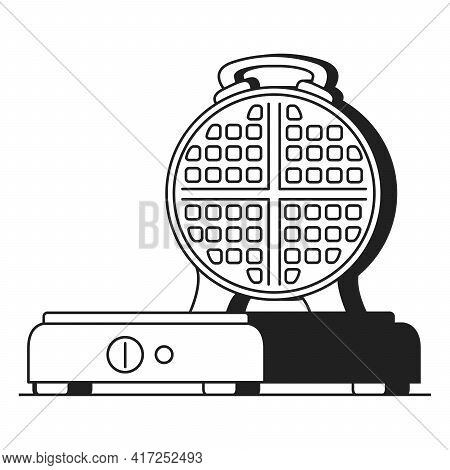 Black Silhouette Waffle Maker.electric Waffle Iron. Preparing Of Waffles.