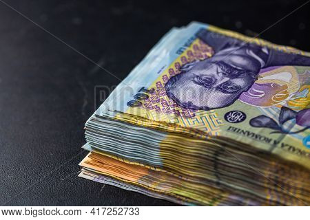 Detail Of Lei Banknotes. Staks Of Romanian Lei Banknotes. World Money Concept, Inflation And Economy