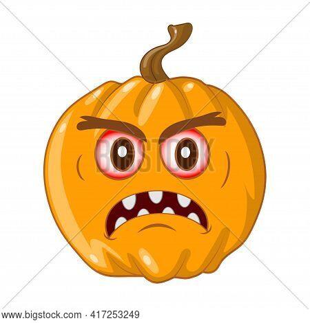 Wicked Yellow Pumpkin For Halloween. Vector Illustration.