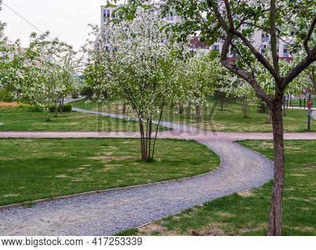 Flower Bed And Walkway In The Park. Landscape.