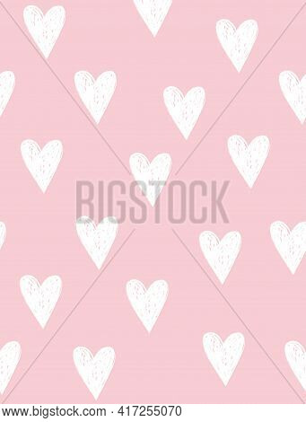 Cute Hand Drawn Irregular Hearts Vector Pattern. White Sketched Hearts Isolated On A Light Pink Back