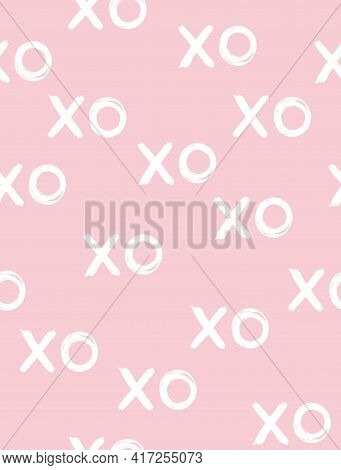 Simple Geometric Vector Print With White Handwritten Xo On Pastel Pink Background. Pink Girly Patter