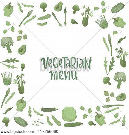 Vegetarian Menu Handwritten Sign With Green Vegetables Frame. Vector Stock Illustration For Design T
