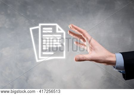 Hand Holding A Document Icon In His Hand Document Management Data System Business Internet Technolog