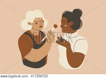 Makeup Artist Illustration. Two Young Women Doing Makeup Or Learning To Self-make Up. Visagiste At W