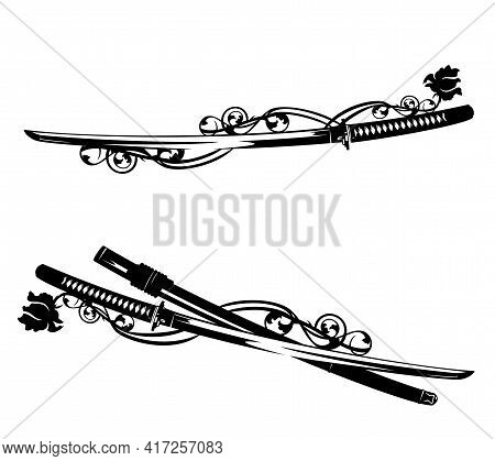 Japanese Katana Swords Entwined With Rose Flower Stems - Traditional Samurai Warrior Weapon Black An