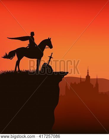 King Arthur, Legendary Excalibur Sword In Stone And Castle Silhouette In The Background - Fairy Tale