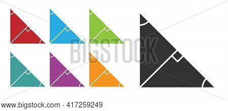 Black Angle Bisector Of A Triangle Icon Isolated On White Background. Set Icons Colorful. Vector