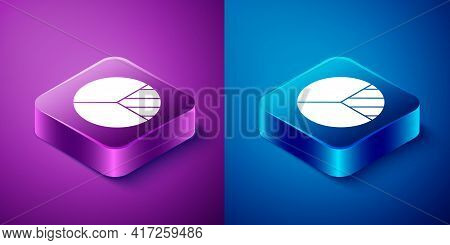 Isometric Pie Chart Infographic Icon Isolated On Blue And Purple Background. Diagram Chart Sign. Squ