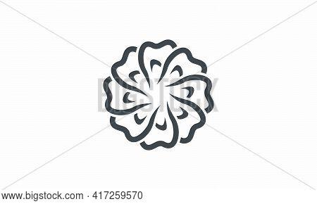 Tooth Twist Shape Flower Design Vector Illustration.