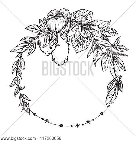 Beautiful Vector Frame With Black And White Feverweed, Protea, Peony Flowers And Leaves.