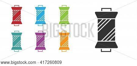 Black Sewing Thread On Spool Icon Isolated On White Background. Yarn Spool. Thread Bobbin. Set Icons