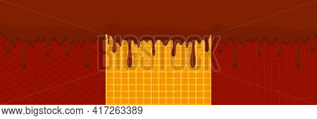 Illustration On Theme Sticky Syrup On Waffle With Cell, Dessert Appetizing Cookie. Waffle Consisting