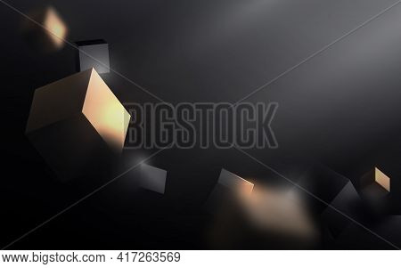 Abstract Gold And Black 3d Cube Chaotic Background.  Luxury Gold And Black Geometric Floating With F