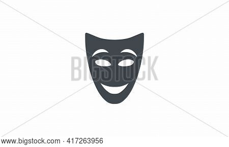 Mask Theatrical Icon. Vector Illustration. Isolated On White Background.