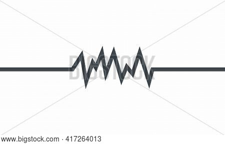 Wave Electrocardiogram Icon. Isolated On White Background. Vector Illustration.