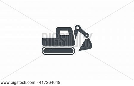 Excavator Digger Icon Design Flat Vector Illustration. Isolated On White Background.