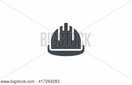 Hard Hat Icon Design Flat Vector. Isolated On White Background.
