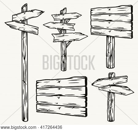 Wooden Signboards And Arrow Signposts Set In Vintage Monochrome Style Isolated Vector Illustration