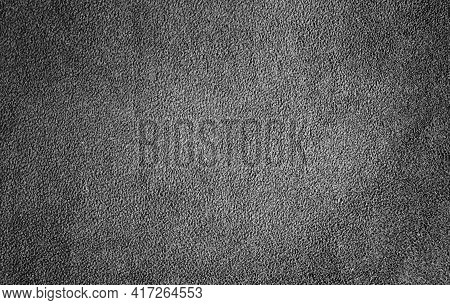 Dark Grey Fabric With Delicate Striped Pattern. Detailed Photo Of Gray Fleece Fabric.