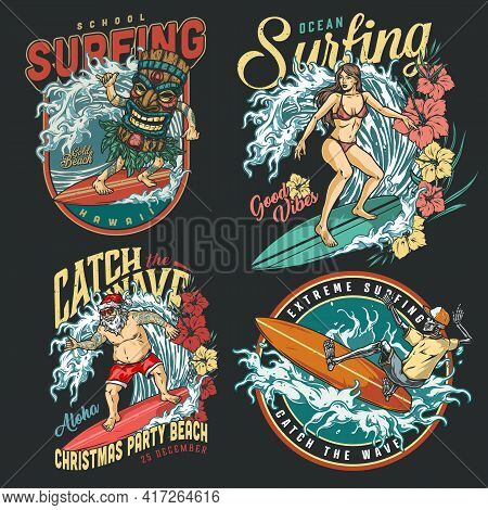 Extreme Surfing Vintage Colorful Labels With Skeleton Pretty Surfgirl Santa Claus And Man In Tribal