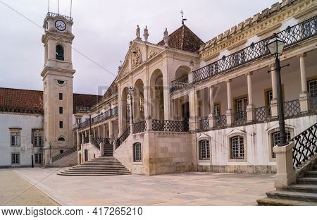 Coimbra, Portugal- November 18 2014: The Oldest Building Of The University Of Coimbra, Portugal.