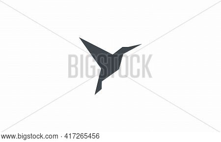 Colibri Origami Paper Simple Icon Vector. Isolated On Wite Background.