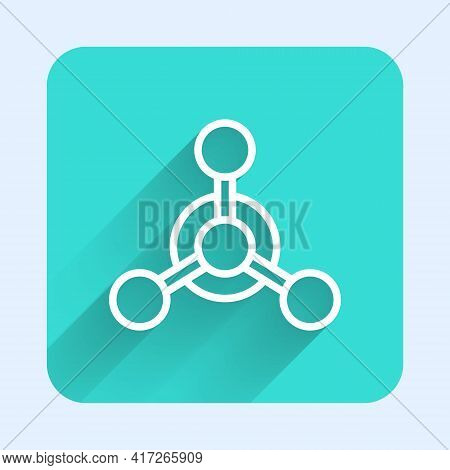 White Line Molecule Icon Isolated With Long Shadow. Structure Of Molecules In Chemistry, Science Tea
