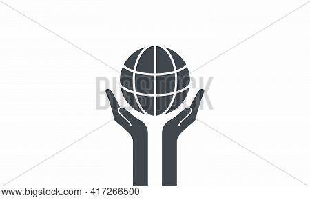 Two Open Hands Holding Globe. Vector Illustration.