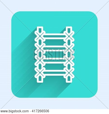 White Line Fire Escape Icon Isolated With Long Shadow. Pompier Ladder. Fireman Scaling Ladder With A