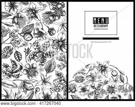 Menu Cover Floral Design With Black And White Laelia, Feijoa Flowers, Glory Bush, Papilio Torquatus,