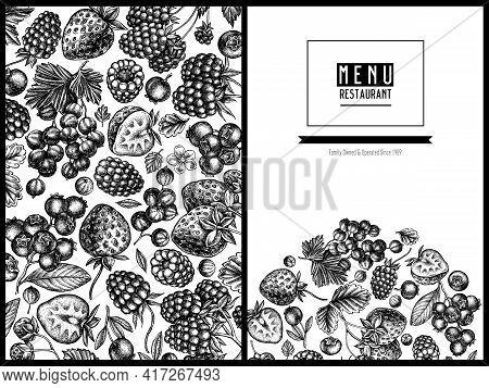 Menu Cover Design With Black And White Strawberry, Blueberry, Red Currant, Raspberry, Blackberry Sto