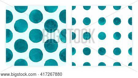 Modern Watercolor Polka. Seamless Round Repeat. Blue Irregular Wrapping. Vector Watercolor Polka. Re