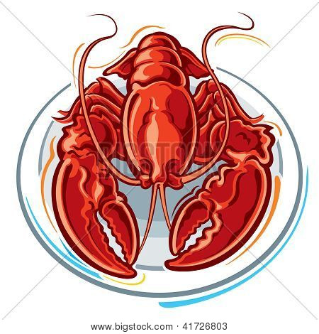 Lobster dinner on a white plate isolated. poster