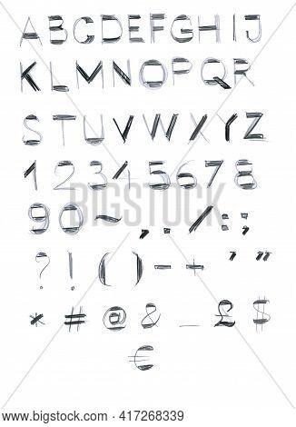 English Alphabet, Latin. Elements For Design. Numerals.