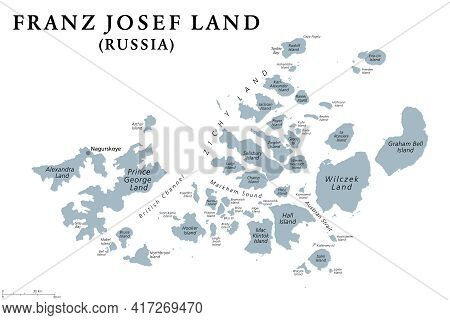 Franz Josef Land, Gray Political Map. Russian Archipelago In The Arctic Ocean, Northernmost Part Of