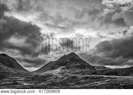 Stunning  Black And White Landscape Image View Down Glencoe Valley In Scottish Highlands With Mounta