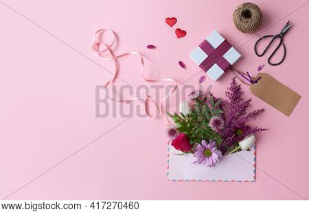 Valentines Day Gift Flowers Inside An Envelope With Greeting Card
