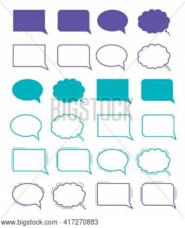 Hand-drawn Speech Bubble. Vector Set. Clouds For Online Chat With Different Words Suitable For Dialo