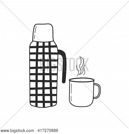 Thermos With A Mug. Hand Drawing Style, Doodle. The Concept Of A Hike, Travel, Tourism. Vector Illus