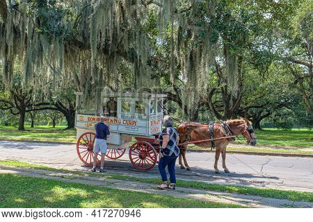 New Orleans, La - August 20: Roman Candy Wagon Draws Customers Next To Audubon Park On August 20, 20